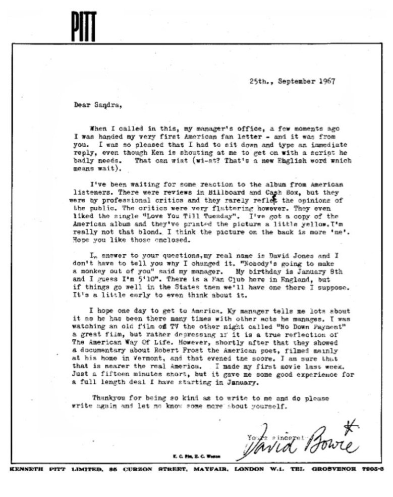 bowie letter