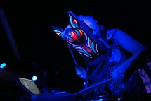 Slow Magic wowed the Black and White lounge audience with live drums and a multicoloured mask.